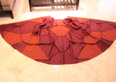 Cape panels all sewn together